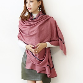 Ethnic Style Solid Color Embroidery Scarf
