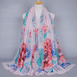 Colorful Peony Printed Women's Voile Scarf