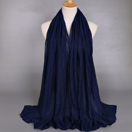 Solid Color Voile Pleated Design Scarf