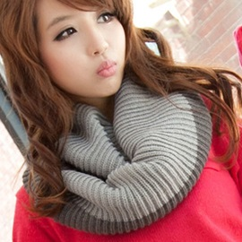 Color Block Knitted Warm Neck Warmer