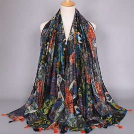Ink Painting Printed Voile Scarf with Tassels