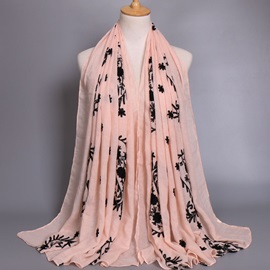 TR Cotton Chiffon Embroidery Ladylike Shawl Scarfs