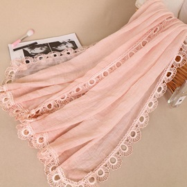 Plain Flower Circles Edge Cotton Lighter Fall Scarfs