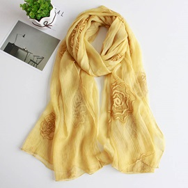 Pure Color Rose Embroidery Scarfs for Women
