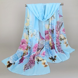Chinese Style Chiffon Flower Printed Women's Scarf