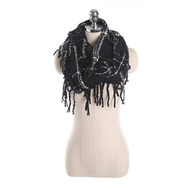 Dashed Plaid Tassel Winter Scarfs
