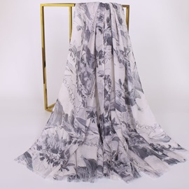 Ink Painting Style Voile Sunshade Beach Shawl