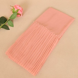 Pearl Patchwork Pure Color Pleated Ethnic Scarf