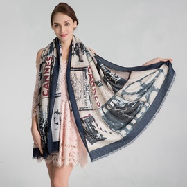 Hot Sale Pure Cotton Painting Print Warm Pre-Fall Scarf