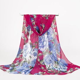 Ink Painting Style Rose Print Chiffon Pre-Fall Scarf