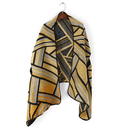 Geometric Print Hole Design Fall Winter Personalized Shawl