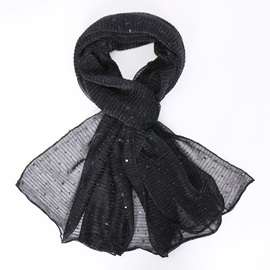 Chic Lurex Sequins Shimmer Pleated Crinkle Ladylike Scarf