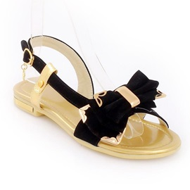 New Black Suede Upper Flat Heels Women Sandals with Bows