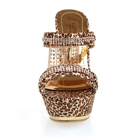 Luxurious Rhinestone Leopard Printed Stiletto Heel Sandals