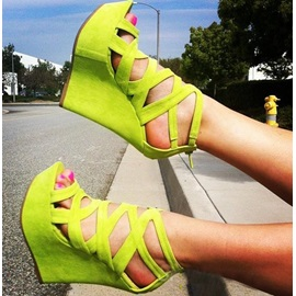 Suede Cut-Out Wedge Sandals