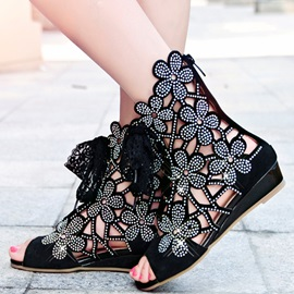 Hollow-out Floral Rhinestone Decorated Lace-up Sandals