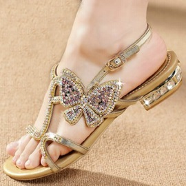 Luxurious Rhinestone Butterfly Flat Sandals