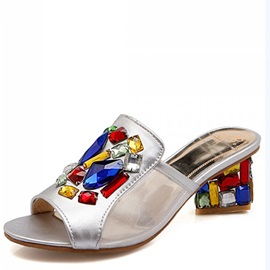 Colorful Rhinestone & Heel Sandals