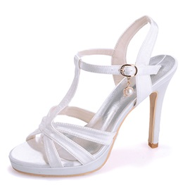 Color Satin Strap Dress Sandals