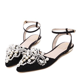 Beading Ankle Strap Pointy Toe Flat Sandals