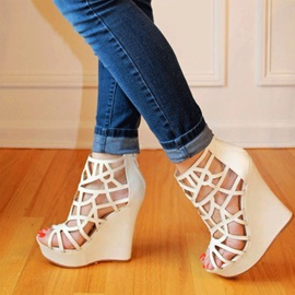 Cut Out Covering Heel Women's Wedges