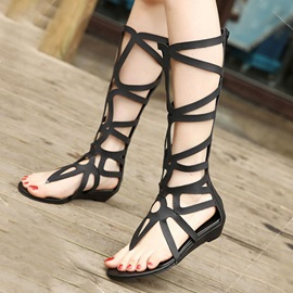 Solid Color Cut-Out Thong Roman Sandals