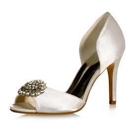 Peep Toe Cut-Out Satin Wedding Shoes