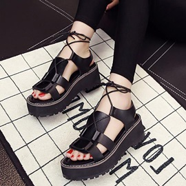 British PU Lace-Up Flat Sandals