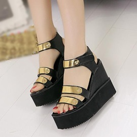 Sequins Open-Toe Velcro Wedge Sandals