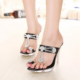 Rhinestone Ring-Toe Slip-On Sandals