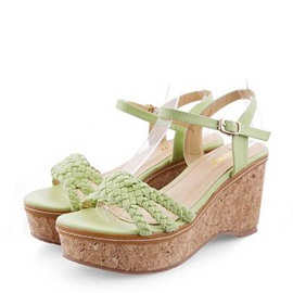 Solid Color PU Crochet Wedge Sandals