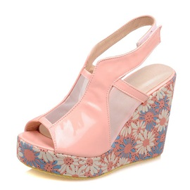 Floral Printed Peep-Toe Wedge Sandals
