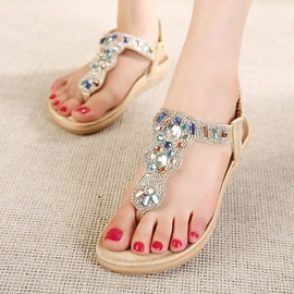Rhinestone Thong Elastic Band Flat Sandals