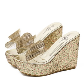Rhinestone Bowknots Sequins Wedge Sandals