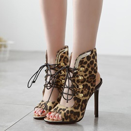 Leopard Printed Peep-Toe Lace-Up Sandals