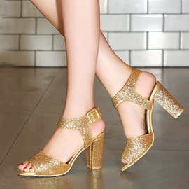 Sequins Peep-Toe Buckle Chunky Heel Sandals