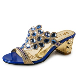 Cheap PU Slip-On Rhinestone Block Heel Women's Sandals