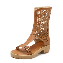 PU Buckles Back-Zip Roman Sandals