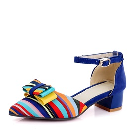 Bowknots Striped Printed Chunky Heel Sandals