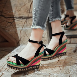 Color Block Peep-Toe Crochet Wedge Sandals