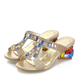 Crystal Chunky Heel Slip-On Sandals