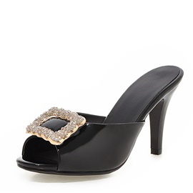 PU Buckles Peep-Toe Sandals