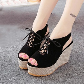 Solid Color Suede Lace-Up Wedge Sandals