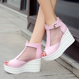 Mesh Patchwork Peep-Toe Buckles Wedge Sandals