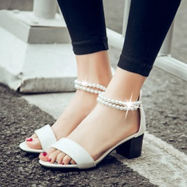 Beaded PU Chunky Heel Sandals