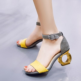 Suede Open-Toe Strange Heel Sandals