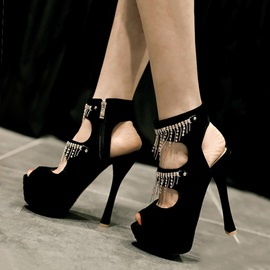 Black Suede Chains Peep-Toe Sandals