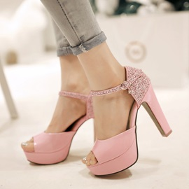Chic Sequins Peep-Toe Chunky Heel Sandals