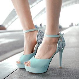 Sequins Peep-Toe Ankle Strap Sandals