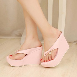 PU Bowtie Thong Wedge Sandals